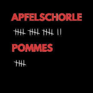 Apfelschorle und Pommes Strichliste Lustig Feiern