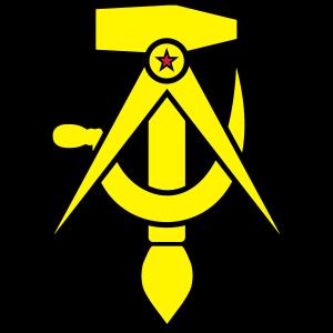 Kommunismus – Hammer, Zirkel, Sichel, Pinsel