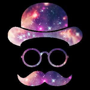 Retro Gesicht mit Moustache & Brille / Universum