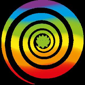 Lotusblume in Regenbogen Spirale