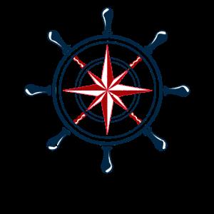 Nautischer Stern Windrose Steuerrad