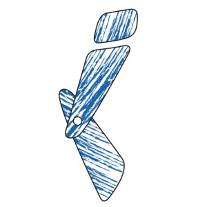 lettera I blu
