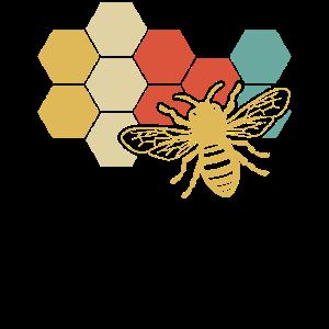 Retro Vintage Biene u. Bienenwabe für Imker