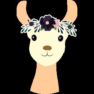Lama mit Blume - Llama - Trend