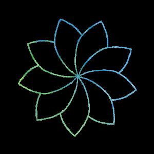 Heiliges Geometrie-Grafik-T-Stück blaues Grün-Mandala