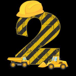 2. Geburtstag Bagger 2 Jahre Bauarbeiter Geschenk