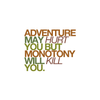 adventure may hurt you but monotony will