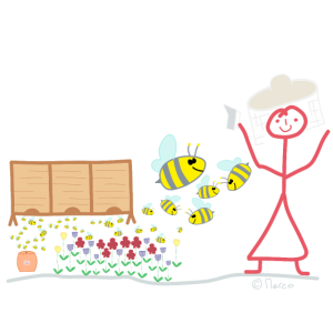 Imker Strichfrau Bienen fliegen summen Blütenstaub
