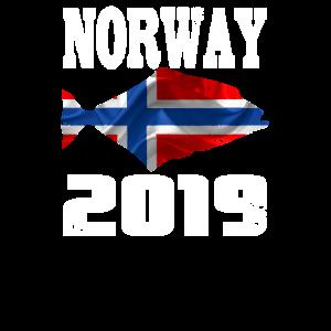 Norwegen 2019 Heilbutt Angeln Shirt
