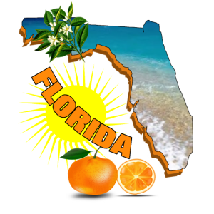 Reise-Karten-Florida-Sonnenschein-Sommer-Entwurf