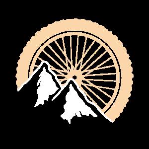 Mountainbike Rad Berge Logo Silhouette