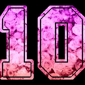 10 Nummer zehn Ziffer Rosenmuster Rosen Trikot Nr