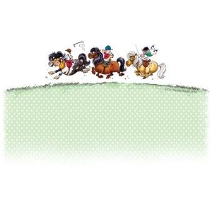 Drei Jockey Thelwell Cartoon fransig