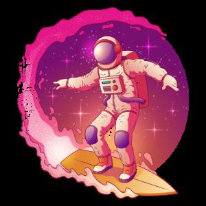Vintage Astronaut Surfing Galaxie