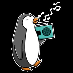 Singender Pinguin mit Radio