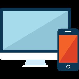 Monitor und Smartphone