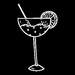 Cocktail Glas auf der linken Brust