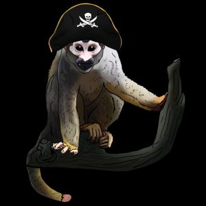 Kapuziner Äffchen als Pirat Geschenk für Piraten