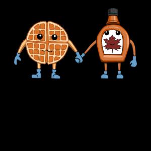 Waffel Sirup Essen Frühstück Ahornsirup Pancake