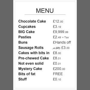 Cake Shop Menu