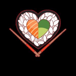 Sushi Herz für Avocado und Lachs Sushi Fans