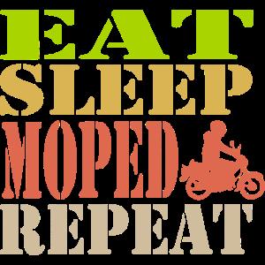 Moped Mofa Retro Style - Eat Sleep Repeat