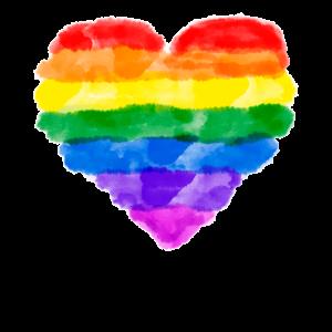 REGENBOGEN HERZ WASSERFARBEN LGBT Queer Gay Pride