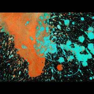 Abstrakte Malerei orange blau