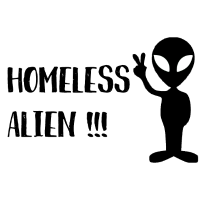 Alien Kopf mit Peace - Homeless Alien
