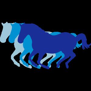Drei galoppierende Pferde 3 Farben