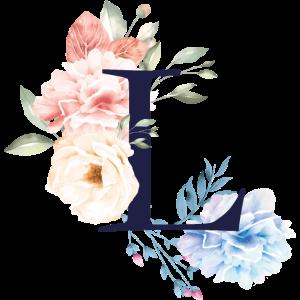 Blumen Sommer Buchstabe L Pastell Rose Blätter