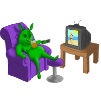 Green Bunny on a couch