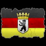 Berlin Wappen auf Deutschlandfahne in Stein