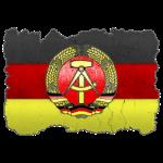 DDR Wappen auf Deutschlandfahne in Stein