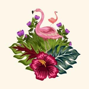 flamant rose fleurs tropicales