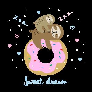 Faultier Sweet dream Mutter mit Kind Donut