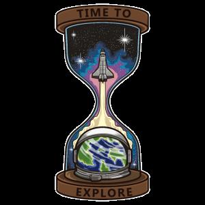 Zeit zum Erforschen | Raumfahrer Sanduhr Weltall