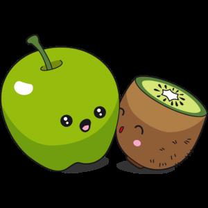 Apfel Kiwi Kawaii