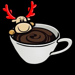 Elch Elmondo® badet in einer Tasse Kaffee