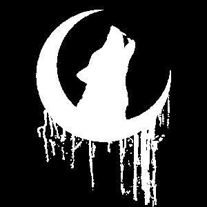 heulender Werwolf Mond Design Gothik Tier T-Shirt