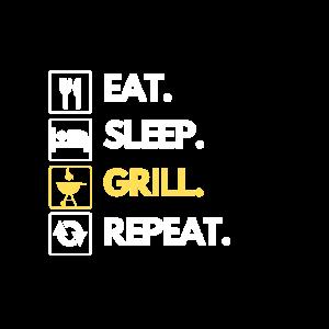 Eat Sleep BBQ Grill Grillen Grillfeier Sommer