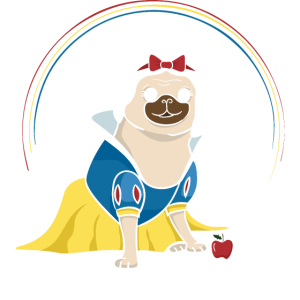 Pug White fairy tale snow cartoon Pug Dog Shirt