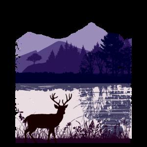 Natur Leidenschaft Hirsch Berge See Lake Deer