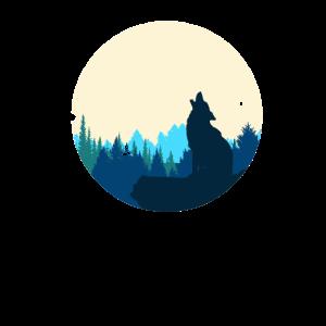 Wolf und Mond Einsamer Kämpfer Heulender König