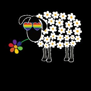 LGBT Schaf mit Blume - Gay Pride Rainbow LGBTQ