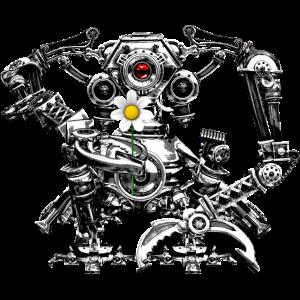 Steampunk Robot with a flower