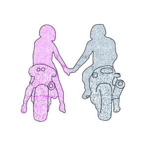 motorcyclist couple