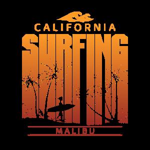Vintage Malibu Surfing Beach Palm Tree Sunset