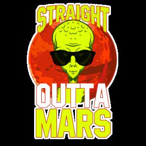 Cooles Straight Outa Mars Alien T-Shirt