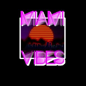 Retro Vintage Miami Vibes Shirt 80er 90er Geschenk